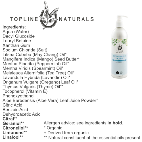 Refreshing Wash Ingredients List